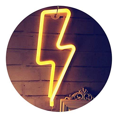 QiaoFei Neon Night Light,LED Lightning Sign Decor Light,Wall Decor for Christmas,Birthday Party,Kids Room, Living Room, Wedding Party Decor (Yellow-Orange)