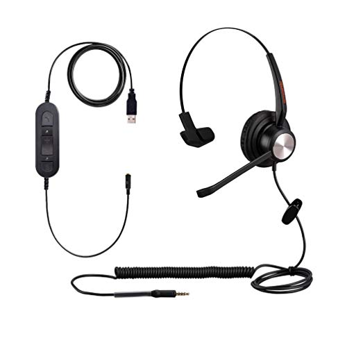 USB Computer Noise Canceling Headset with Microphone for Laptop Dragon Voice Recognition Speech PC Headphone for Call Center Work, Monaural 3.5mm/USB Telework VoIP Softphone Headset for Zoom,Teams