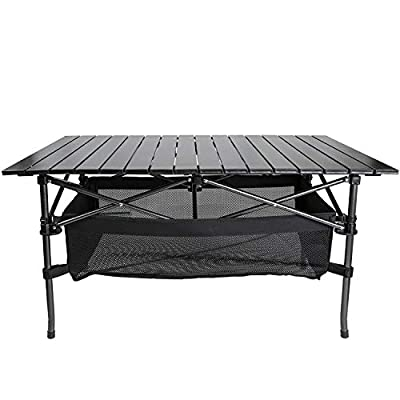 """Yoler Folding Camping Table Aluminum Roll Top Table with Carry Bag Portable Ultralight for Beach BBQ Picnic Cooking Fishing (37"""" Lx21.6 Wx19.7 H)…"""