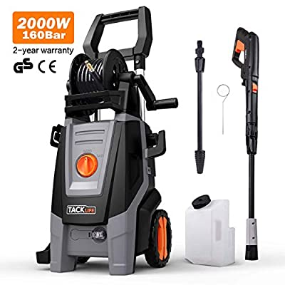Pressure Washer, 160Bars 2000W 450L/H Full Copper Motor Pump Jet Washers, 6M High Pressure Hose and Hose Reel, 1000ML Detergent Tank Power Pressure Washer High Pressure Washer, Car Washing Machine by TACKLIFE