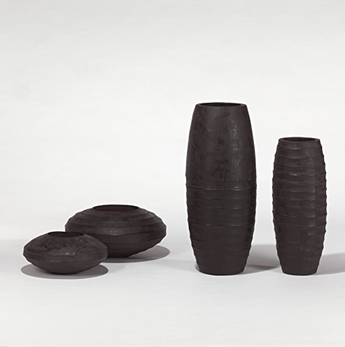 Lambert Sansibar Gefäß Bauchig, Kohle Ca. H16 D35, Keramik, One Size
