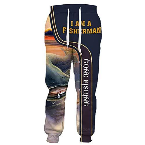 Pantalones de Pesca de Animales de impresión 3D, Hombres Mujeres Popular Streetwear Fashion Harajuku Pant, Casual Gym Joggers Sweetpants Trousers 3 L