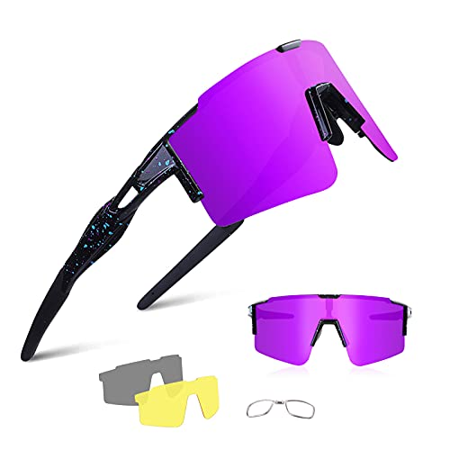 BangLong Polarisierte Sonnenbrille, Fahrradbrille Herren Damen UV 400 Schutz mit 3 Wechselgläser, Schutzbrille Sportbrille für Outdoorsport Radfahren Laufen Golf