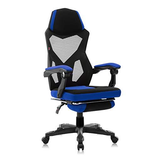 MY SIT Sedia Gaming Sedia da Ufficio Poltrona Girevole - Poggiapiedi allungabile - Regolabile in Altezza - Angolo di Inclinazione Regolabile Poltrona da direttore ZERO - Blu