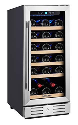 Kalamera 15'' Wine Cooler 30 Bottle Built-in or Freestanding with Stainless Steel & Double-Layer Tempered Glass Door and Temperature Memory Function
