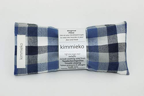 Kimmieko Weighted Eye Pillow   Post Yoga   Organic Lavender and Flax Seed insert   Machine washable Sleeve   Hand-knit in the USA   Perfectly Weighted   (Blue Stripe Flannel)