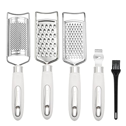 To encounter Set of 5 Cheese Grater & Peeler,Lemon Zester, Stainless Steel Multi-purpose Kitchen Food Grater Slicer for Vegetable, Fruit, Chocolate With Cleaning Brush (White)