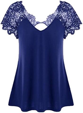 Womens T Shirt Fashion Blouse V Neck Plus Size Lace Short Sleeve Trim Cutwork Tops Blue product image