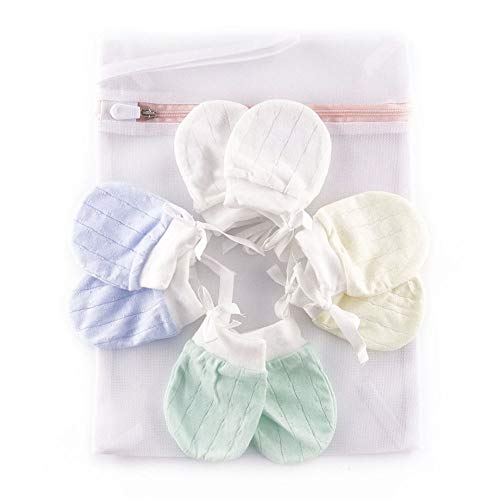 SANCHENG Organic Baby Mittens Newborn Glove No Scratch for Infants Unisex 4 Pairs Thick, Multicoloured, Small