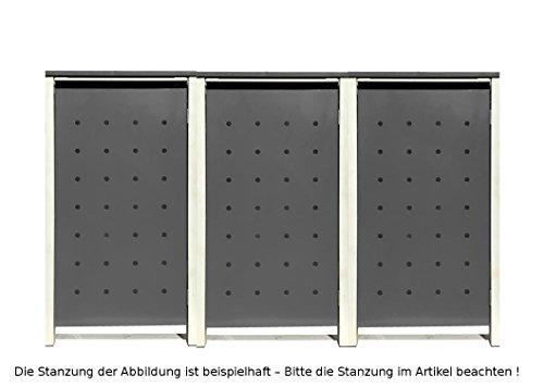 BBT@   Hochwertige Mülltonnenbox für 3 Tonnen je 240 Liter mit Klappdeckel in Silber / Aus stabilem pulver-beschichtetem Metall / Ohne Stanzung / In verschiedenen Farben sowie mit unterschiedlichen Blech-Stanzungen erhältlich / Mülltonnenverkleidung Müllboxen Müllcontainer - 2