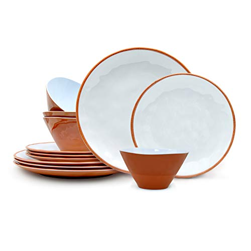 Zak Designs 12pc Terra Cotta Collection Durable Melamine Dinnerware Set Includes Dinner Plates, Salad Plates, and Individual Bowls, Service for 4 (12pc, Terra Cotta)