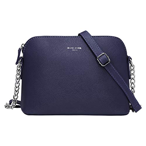 David Jones - Damen Kleine Umhängetasche - Saffiano Leder Feste Schultertasche - Kette Schulterriemen Abendtasche - Reißverschluss Handtasche - City Clutch Party Zip Crossbody Bag Mode - Blau