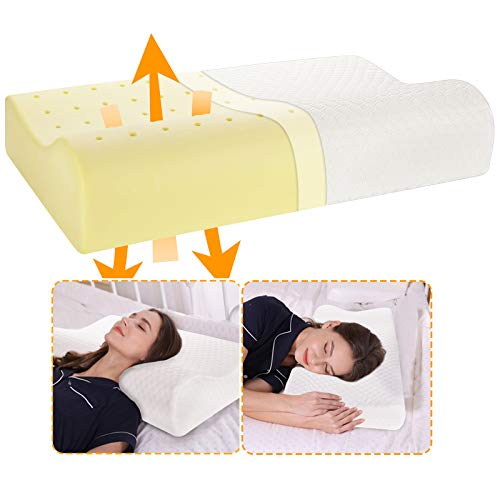 Contour Cervical Pillow for Neck Pain, Orthopedic Neck Pillows for Pain Relief Sleeping, Ventilated Memory Foam Pillow for Neck and Shoulder Pain for Side & Back Sleeper with Breathable Core