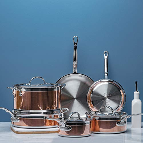 Hestan CopperBond Collection Ultimate Set - 100% Pure Copper Core & Stainless Steel Base, Assortment of Pots, Pans & Skillets, Made in Italy, 10-Piece Set, Copper