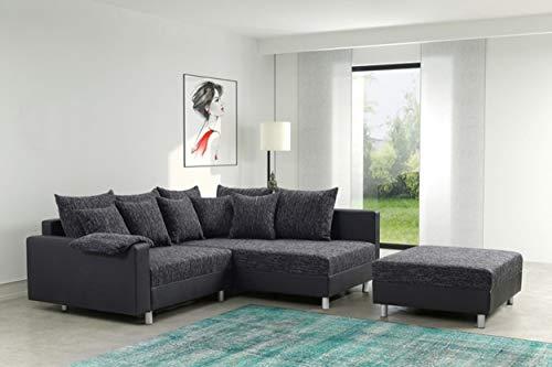 Küchen-Preisbombe Modernes Sofa Couch Ecksofa Eckcouch in schwarz Eckcouch mit Hocker - Minsk R