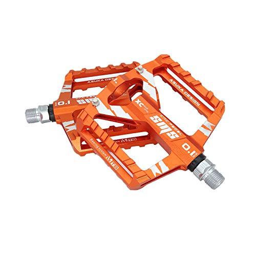Zeroall 9/16 Zoll Fahrradpedale Mountainbike Rennrad Fahrrad Pedalen Aluminiumlegierung Platform Fahrradpedale mit voll abgedichteten Lagern für Citybike, Rennrad, E-Bike & MTB(Orange)