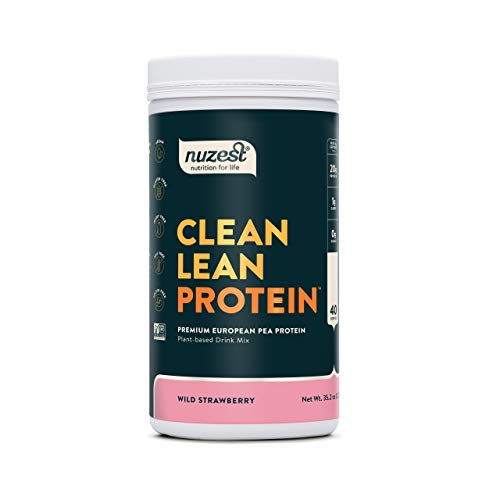 Wild Strawberry Clean Lean Protein by Nuzest - Premium Vegan Protein Powder, Plant Protein Powder, European Golden Pea Protein, Dairy Free, Gluten Free, GMO Free, Naturally Sweetened, 40 SRV, 2.2 lb