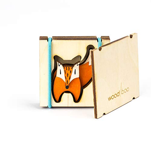 Wood/boo Handmade Brooch Fox Shape. Unisex Funny Unusual Gift Fun Present & Christmas Stocking Filler