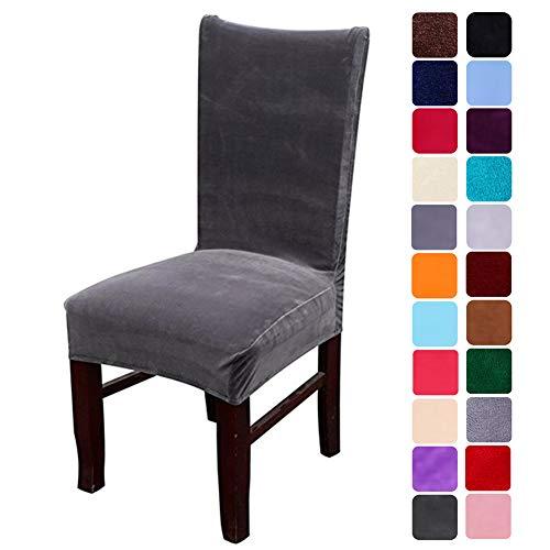 smiry Velvet Stretch Esszimmer Stuhlhussen, Weiche abnehmbare waschbar Esszimmerstühle Schonbezüge, 2er Set, Dunkelgrau