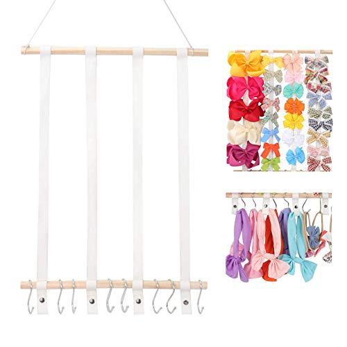 Oaoleer Hair Bow Holder Organizer for Girls,Hair Clips Headband Organizer Storage Wall Hanging Home Decor for Girls Room