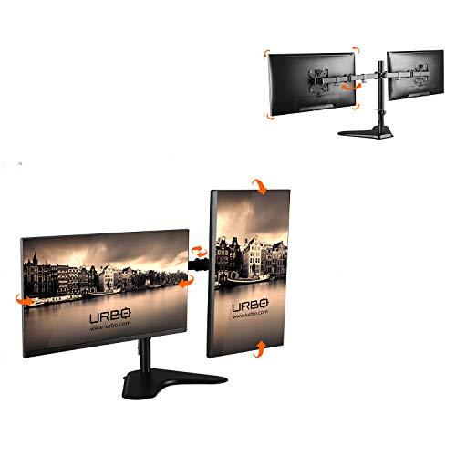 Urbo Deinum Ergonomische Monitorarm voor twee schermen met standaard en Full Motion VESA Platen. Voor beeldschermen tot 81 cm