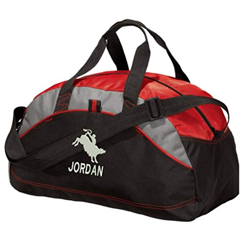 Personalized Rodeo Bull Rider Duffel Gym Bag - Embroidered (Red)