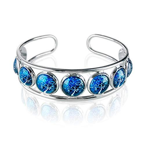 Klimisy Levensboom armband in het blauw – variabele grootte – bij elke aankoop plant je een boom. - Hoogwaardige armband van roestvrij staal en glas.