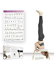 Restrial Life Yoga hoofdstandkruk, yoga-hoofdstandstoel voor thuis en in de sportschool, hout en PU-bekleding, vermoeidheid en lichaamsbouw (wit)