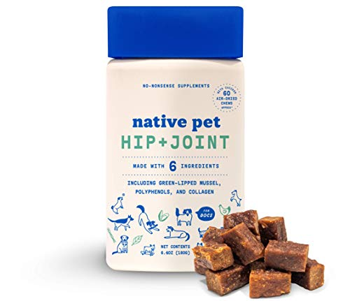 Native Pet Dog Hip and Joint Supplement - Air-Dried Joint Chews for Dogs (60 Ct.) - Polyphenols + Collagen + Green Lipped Mussel for Dogs - Dog Arthritis + Dog Pain Relief + Anti Inflammatory for Dogs
