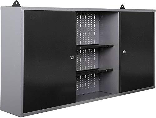 METALLMOBELL- MB003 ARMARIO HERRAMIENTAS METALICO DE PARED 120x60x20Cm, IDEAL EN TALLER, GARAJE DONDE ORGANIZAR HERRAMIENTAS,2 ARMARIOS CON CERRADURA Y LLAVE,2 ESTANTES CENTRALES (GRIS/NEGRO),