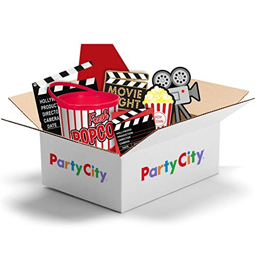 Party City Family Movie Night Kit, Includes Decorations, Clapboard, Popcorn Buckets and Napkins