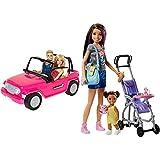 Barbie Muñeco Ken Y Muñeca con Su Coche De Playa, Coche Muñeca (Mattel Cjd12) + Muñeca Skipper Hermana De , Niñera De Paseo (Mattel Fjb00)