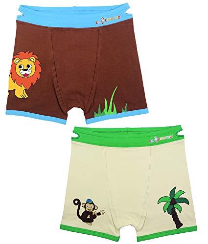 EZ SOX Boys Boxers Toddler Training Underwear, Monkey/Lion, 2-3 Years
