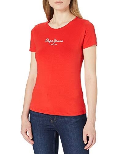 Pepe Jeans New Virginia Camiseta, Rojo (244mars Rouge 389), L para Mujer