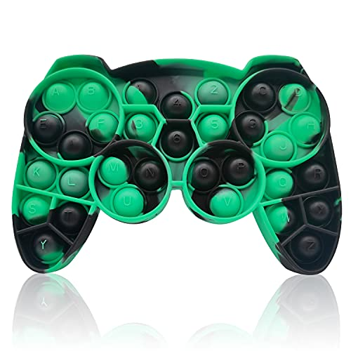 HooYiiok Gamepad Tie Dye Push Pop Pop Fidget Toy, Stress Relief Pop Game for Autism ADD and ADHD Special Needs Anxiety, Popper Fidgets Toys for Girls and Kids (Green Black)