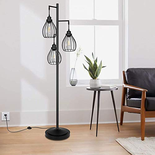 AZYJBF Floor Lamp Industrial Style 69'' High Weathered Iron Cage 3 Lights Pipe Standing Lamp Fixture Made of Iron Vintage Metal Floor lamp(Without Light Bulbs)