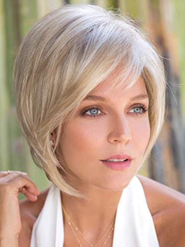 Reese Large Cap Color Chocolate Swirl - Noriko Wigs Women's Tousled Bob Synthetic Short Choppy Layers Side Fringe Open Weft Bundle with Wig Comb, MaxWigs Hairloss Booklet