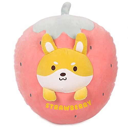 ARELUX 21.7' Shiba Plush Stuffed Animal Pillow-Cute Strawberry Squishy Hugging Plushie-Gifts for Kids Girl Baby