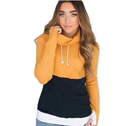 Elonglin Femme Sweat-Shirt Casual en col roulé Hoodie Top Sport T-Shirts Manches Longues Jaune FR 42 (Asie M)