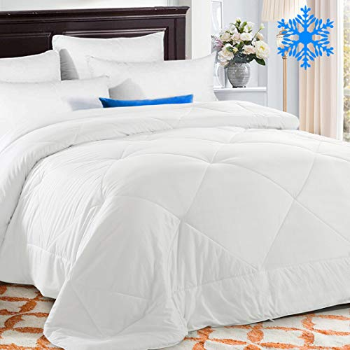 TEKAMON Cooling Queen Comforter Soft Quilted Down Alternative Duvet Insert with Corner Tabs, Fluffy Reversible Collection for Hotel, Cool White, 88 x 88 inches