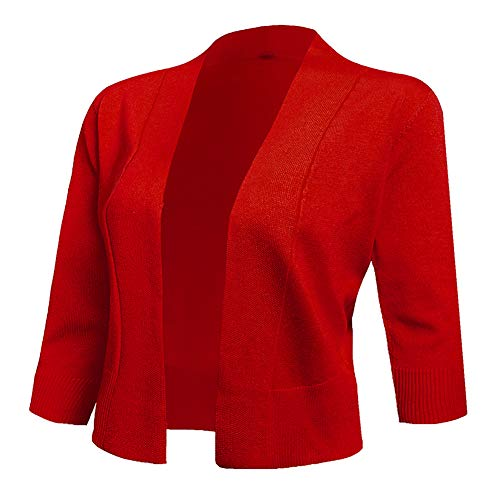 AAMILIFE Women's 3/4 Sleeve Cropped Cardigans Sweaters Jackets Open Front Short Shrugs for Dresses Red XL
