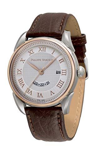 Philippe Vandier Reloj Hombre Swiss Made Carey Steel Bicolor Rouge Movimiento Cuarzo Suizo Correa de Piel y Cristal Mineral de Alta Resistencia