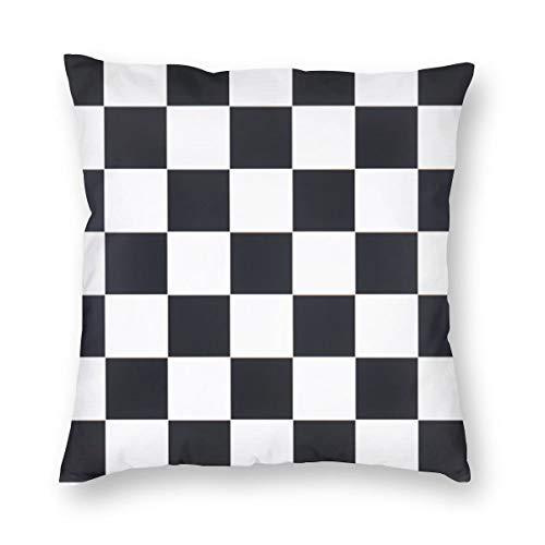 best gift Fundas de cojín de Tablero de ajedrez Fundas de cojín Decorativo de sofá de algodón para decoración del hogar, Funda de Almohada Cuadrada Suave de 18x18 Pulgadas