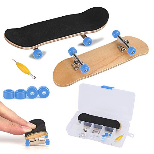 Fingerboard Finger Skateboards, Mini diapasón, Patineta de dedos profesional para Tech Deck Maple Wood DIY Assembly Skate Boarding Toy Juegos de deportes Kids Christmas Gift(Azul oscuro)