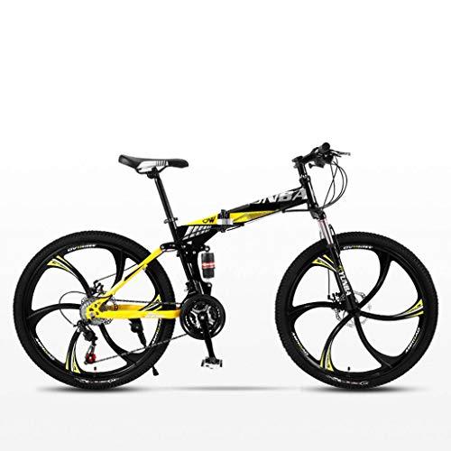 Bove 24 Inch Bicicleta MTB Plegable Bicicleta De Montaña Plegable Amortiguadores Doble Disco Frenos Bicicleta De Montaña Resistente Y Ligero Bicicleta Urbana Unisex-21Velocidades-L
