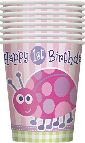 Roze Ladybird 1e Verjaardag Feestartikelen Papier Bekers 9 oz Multi kleuren