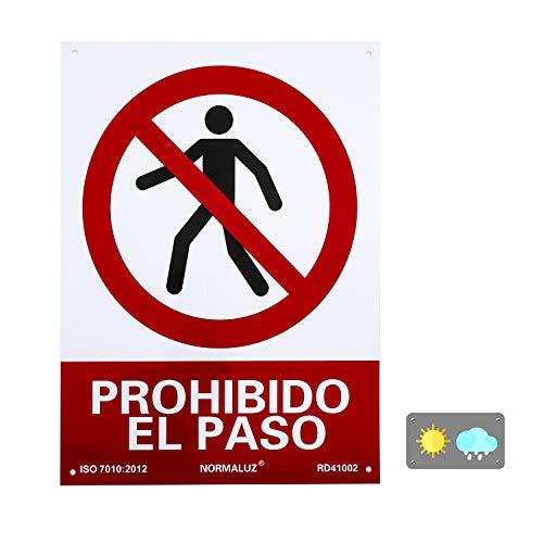 Normaluz RD41002 - Señal Prohibido El Paso Carteles PVC 0.7 mm 30x40 cm, Rosso ⭐