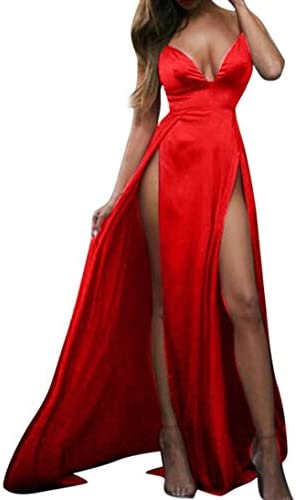Boomboom Women V Neck Side Split Sleeve Evening Gown Long Dresses Red S product image