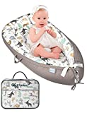 GoXteam Baby Lounger Baby nest,Ultra Safe Feeling to Cuddle Newborn,Protect Infant Spine,Crib&Bassinet Suitable,Portable to Indoor&Outdoor,Baby Gift for Napping,Co Sleeping  Reversible:Animal+Grey