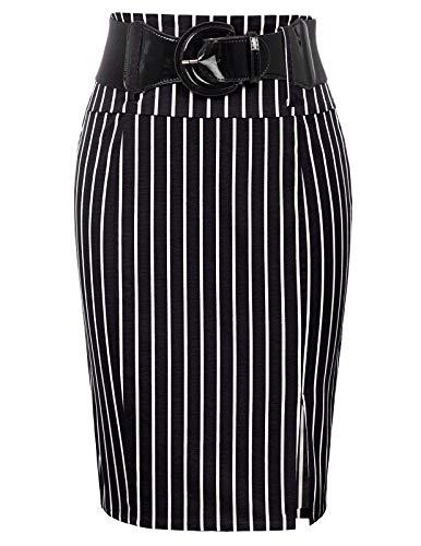 Belle Poque Work Skirts for Women Knee Length Bodycon Party Skirt, Black Stripe, Large